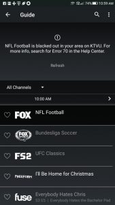 No football on directv now smartphone users