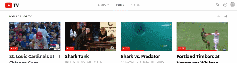 YouTube TV splash